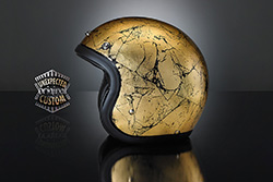 casco moto custom cracked gold