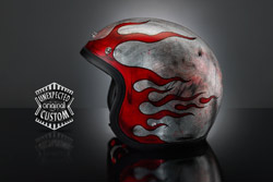 airbrushed custom helmet Rusted Flames