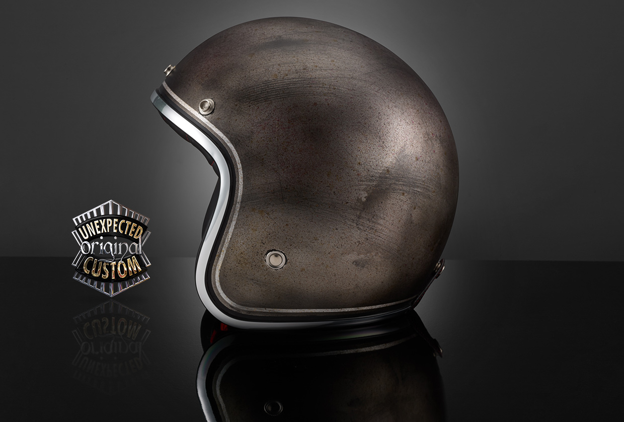custom helmet black rusted metal