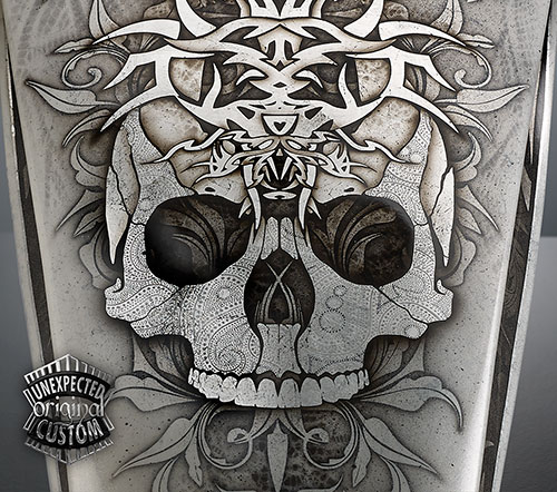 harley custom skull tank indian larry
