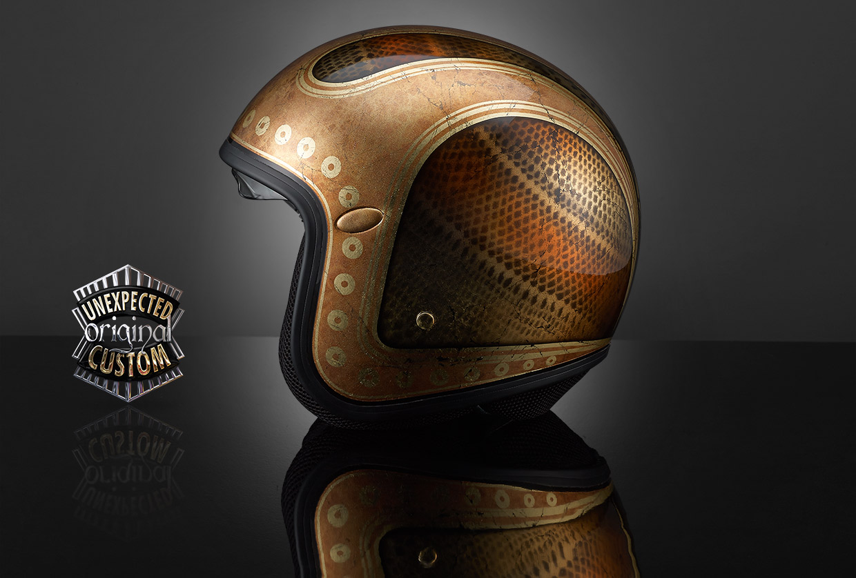 new vintage gold custom helmet