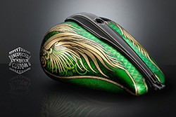 custom motorcycle tank green angel wings